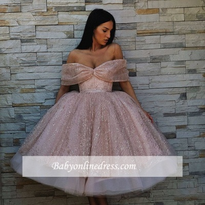 Charming Off-The-Shoulder Short Sleeves Prom Dresses | Tea Length Ball Gown Evening Gowns_3