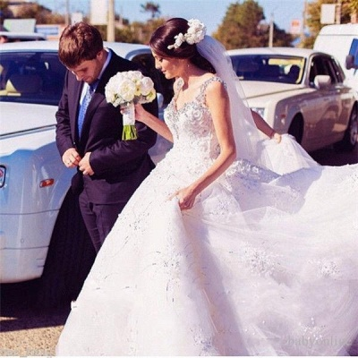 2021 Ball Gown Wedding Dresses Straps Sparkly Crystals Beaded Puffy Luxury Bridal Gowns_4