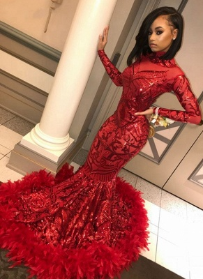 Gorgeous Red Feathers Prom Dresses | High Neck Long Sleeves Formal Dresses_1