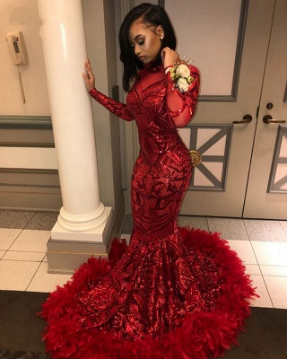Gorgeous Red Feathers Prom Dresses | High Neck Long Sleeves Formal Dresses_3