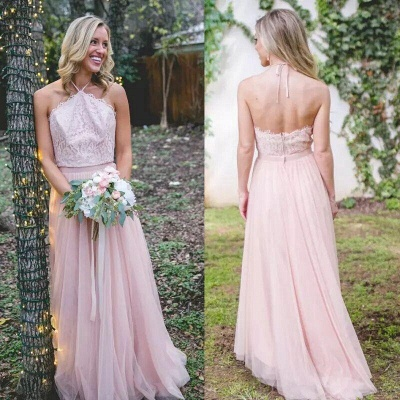 Pink Tulle A-Line Bridesmaid Dresses   Halter Lace Appliques Maid Of The Honor Dresses_2