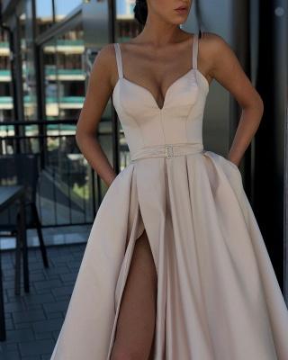 Fashion Slit A-Line Evening Dresses | Spaghetti Strap Sashes Long Prom Dress BC0865_2