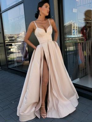 Fashion Slit A-Line Evening Dresses | Spaghetti Strap Sashes Long Prom Dress BC0865_1