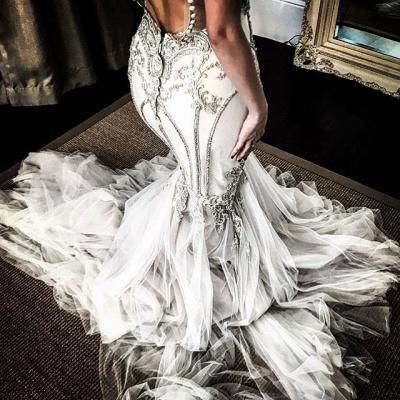 Vintage Appliques Mermaid Wedding Dresses | Off-the-Shoulder Long Sleeves Bridal Gowns BC0446_3