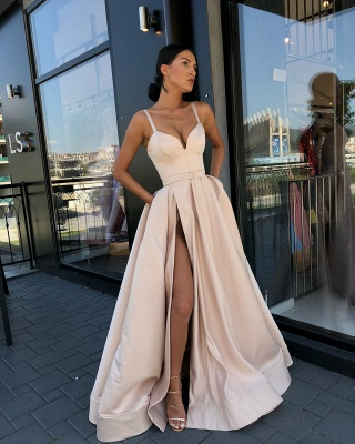 Fashion Slit A-Line Evening Dresses | Spaghetti Strap Sashes Long Prom Dress BC0865_3