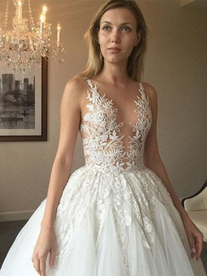 Sexy Sheer Neck Puffy Wedding Dresses | Lace Appliques Long Bridal Gowns_2