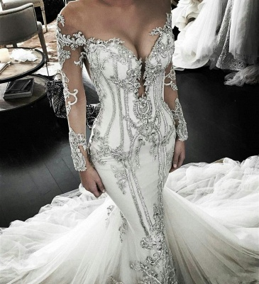 Vintage Appliques Mermaid Wedding Dresses | Off-the-Shoulder Long Sleeves Bridal Gowns BC0446_2