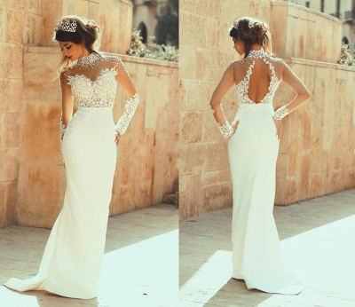 High Neck Illusion Lace Sheath Wedding Dresses Hollow Back Court Train Bridal Gowns_2