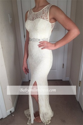 Glamorous Crew Sleeveless  Prom Dresses   White Lace Zipper Front Split Evening Gowns_3