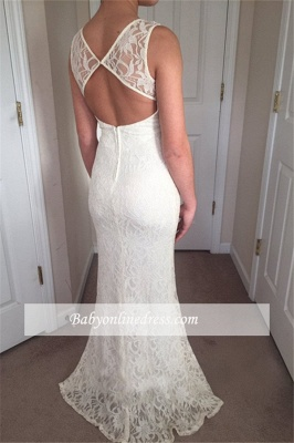 Glamorous Crew Sleeveless  Prom Dresses   White Lace Zipper Front Split Evening Gowns_2
