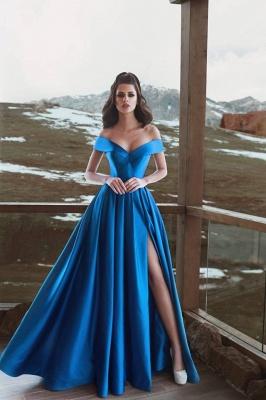 Simple Off-The-Shoulder A-Line Prom Dresses   Sexy Side Slit Long Evening Dresses_2