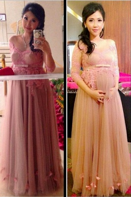 Tulle Charming Applique Pregnant Dresses | Tiered 3/4 Long Sleeves Maternity Dresses_1