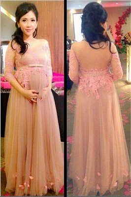 Tulle Charming Applique Pregnant Dresses | Tiered 3/4 Long Sleeves Maternity Dresses_2