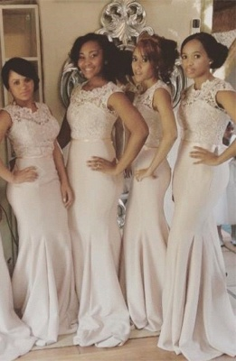 2021 Lace Top Mermaid Bridesmaid Dresses Sleeveless with Sash Long Formal Wedding Party Dresses_1
