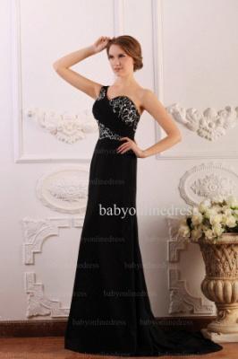 2021 Wholesale Dresses Sheath One Shoulder Applique Beadings Black Chiffon Prom Dress BO0640_4