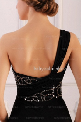 2021 Wholesale Dresses Sheath One Shoulder Applique Beadings Black Chiffon Prom Dress BO0640_5