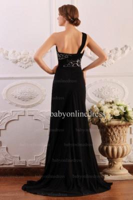 2021 Wholesale Dresses Sheath One Shoulder Applique Beadings Black Chiffon Prom Dress BO0640_3