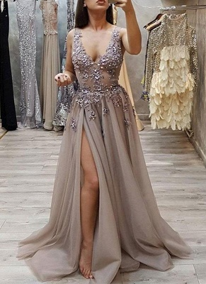 Sexy High Slit A-line Prom Dresses | V-Neck Beading Evening Gowns BC0483_1