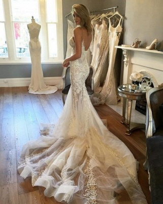Sexy Lace Mermaid Wedding Dresses | Spaghetti Straps Long Bridal Gowns_2