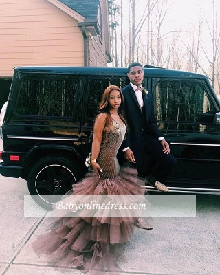 Sleeveless Straps Elegant Tulle Applique Mermaid Prom Dress_3