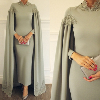 Elegant Cloak Sheath Prom Dresses | High Neck Long Sleeves Lace Appliques Evening Dresses BC1773_2