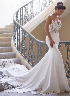 Sexy Spaghettis Straps Mermaid Wedding Dresses | Simple Sheer Sleeveless Bridal Gowns BC0190_1