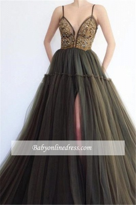 Sexy Spaghetti-Straps Sleeveless Prom Dresses   Appliques Slit Tulle Evening Gowns_2
