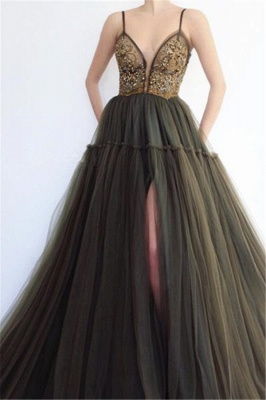 Sexy Spaghetti-Straps Sleeveless Prom Dresses   Appliques Slit Tulle Evening Gowns_3