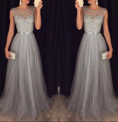 2021 Grey A-line Prom Dresses Beaded Long Tulle Luxury Evening Gowns_3