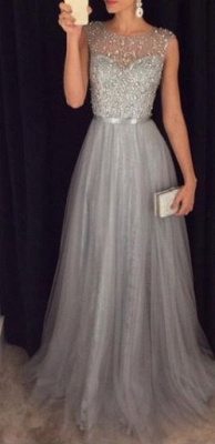 2021 Grey A-line Prom Dresses Beaded Long Tulle Luxury Evening Gowns_1