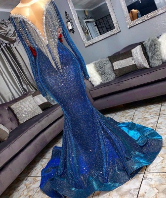 Glamorous Blue Mermaid Prom Dresses | Long Sleeves Evening Gowns with Tassels_2