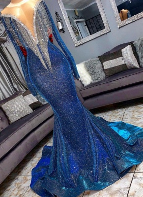 Glamorous Blue Mermaid Prom Dresses | Long Sleeves Evening Gowns with Tassels_3