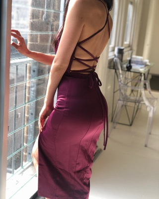Sexy Criss Cross Straps Slit Prom Dresses | Short Backless Sheath Cocktail Dresses_2