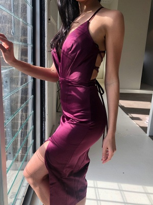 Sexy Criss Cross Straps Slit Prom Dresses | Short Backless Sheath Cocktail Dresses_1