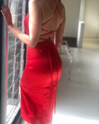 Sexy Criss Cross Straps Slit Prom Dresses | Short Backless Sheath Cocktail Dresses_4