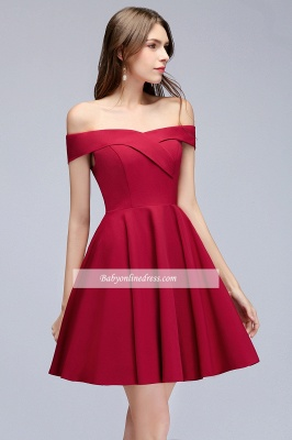 A-Line Length Knee Off-the-Shoulder Sweetheart Homecoming Dresses_4