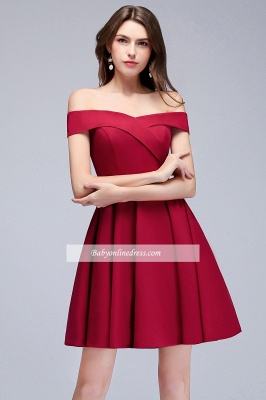 A-Line Length Knee Off-the-Shoulder Sweetheart Homecoming Dresses_5