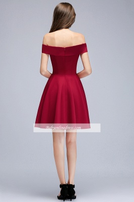 A-Line Length Knee Off-the-Shoulder Sweetheart Homecoming Dresses_2
