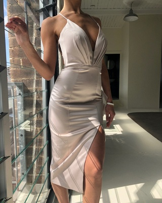 Sexy Criss Cross Straps Slit Prom Dresses | Short Backless Sheath Cocktail Dresses_5