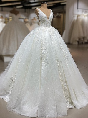 Luxury Lace Ball Gown Wedding Dresses | V-Neck Sleeveless Appliques Sequins Bridal Gowns_1