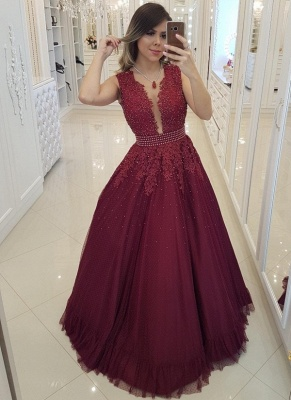 Chic Burgundy Pearls Prom Dresses | Deep V-Neck Sheer Back Evening Gowns_3
