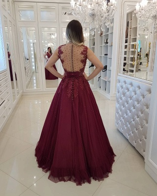 Chic Burgundy Pearls Prom Dresses | Deep V-Neck Sheer Back Evening Gowns_2