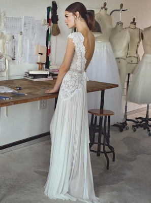 Elegant Lace A-Line Wedding Dresses | V-Neck Cap Sleeves Appliques Long Bridal Gowns_2