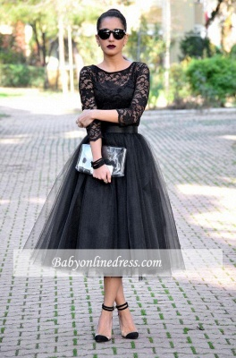 Popular A-Line Black Tulle 3/4 Length Sleeves Tea-Length Lace Evening Gowns_1