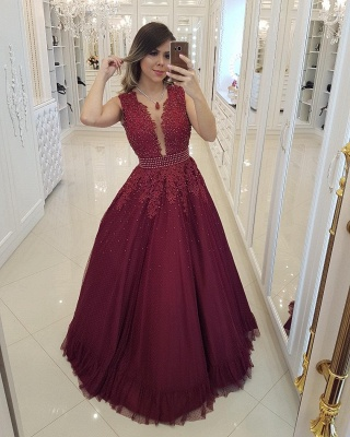 Chic Burgundy Pearls Prom Dresses | Deep V-Neck Sheer Back Evening Gowns_1