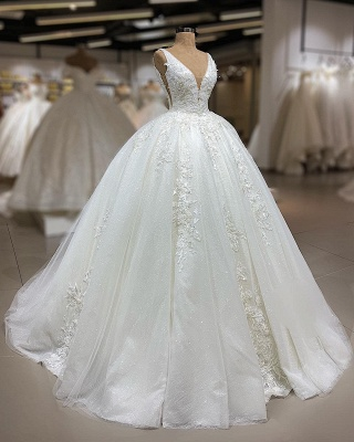 Luxury Lace Ball Gown Wedding Dresses | V-Neck Sleeveless Appliques Sequins Bridal Gowns_2