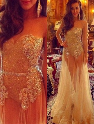 Sweetheart Champagne Sheer Tulle Sexy Prom Dresses with Long Sleeves_2