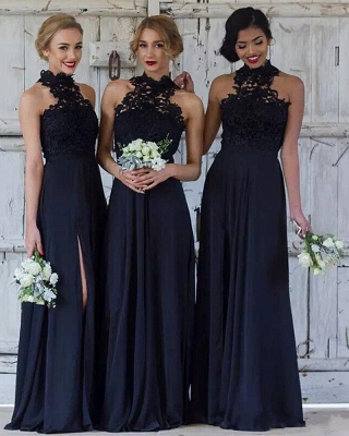 Cheap Dark Navy A-Line Bridesmaid Dresses   Halter Lace Side Slit Maid Of The Honor Dresses_1