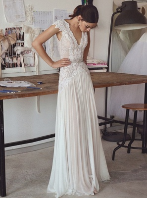 Elegant Lace A-Line Wedding Dresses | V-Neck Cap Sleeves Appliques Long Bridal Gowns_1