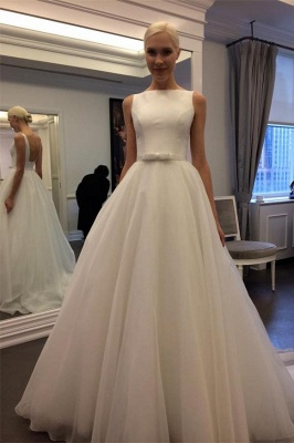 Simple Sleeveless A-Line Wedding Dresses | Chic Open Back Bridal Gowns with Bow_2